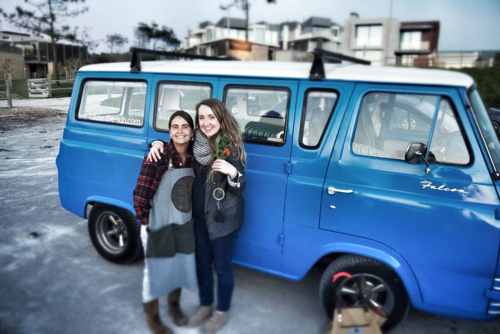 Marta and I with Sam, our van