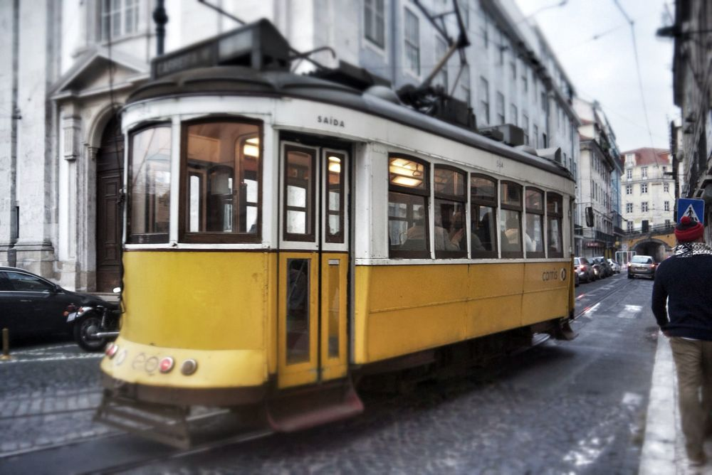 A tram in central Lisbon