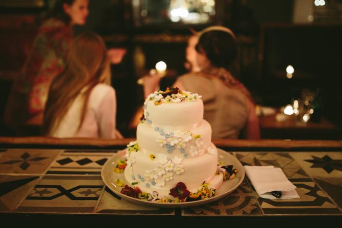 Home-Decorated Wedding Cake