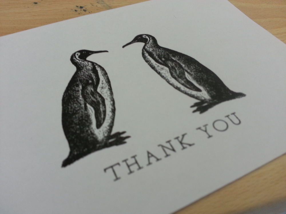 Letterpress Penguin Thank you Card