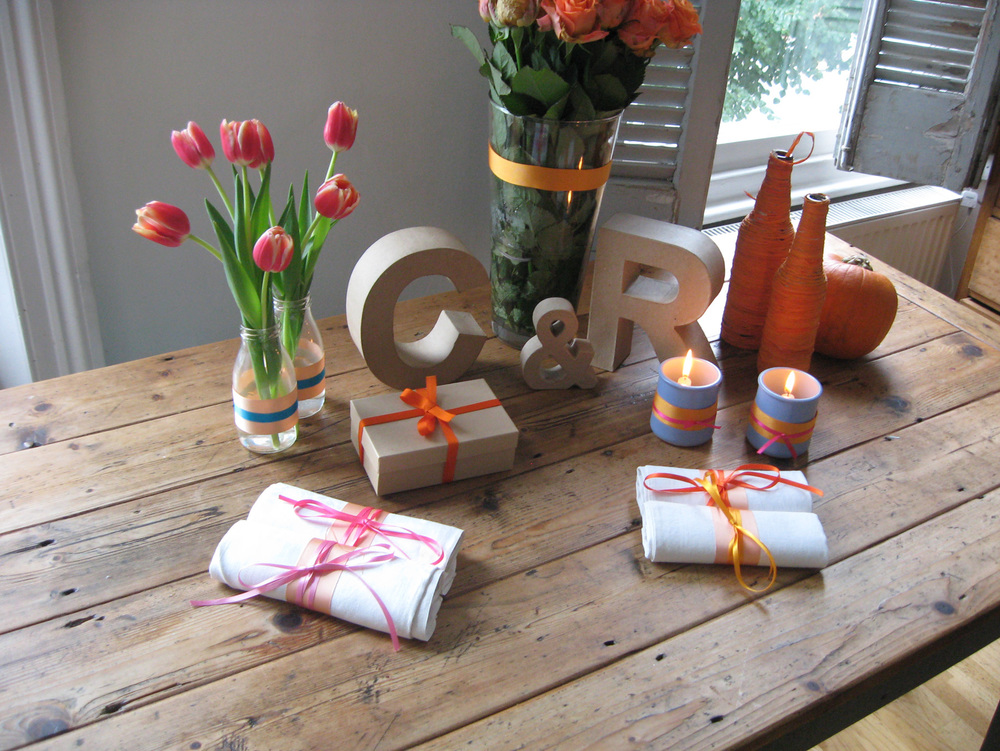 Wedding DIY - Autumn Theme - Ribbons craft card table display and decorations