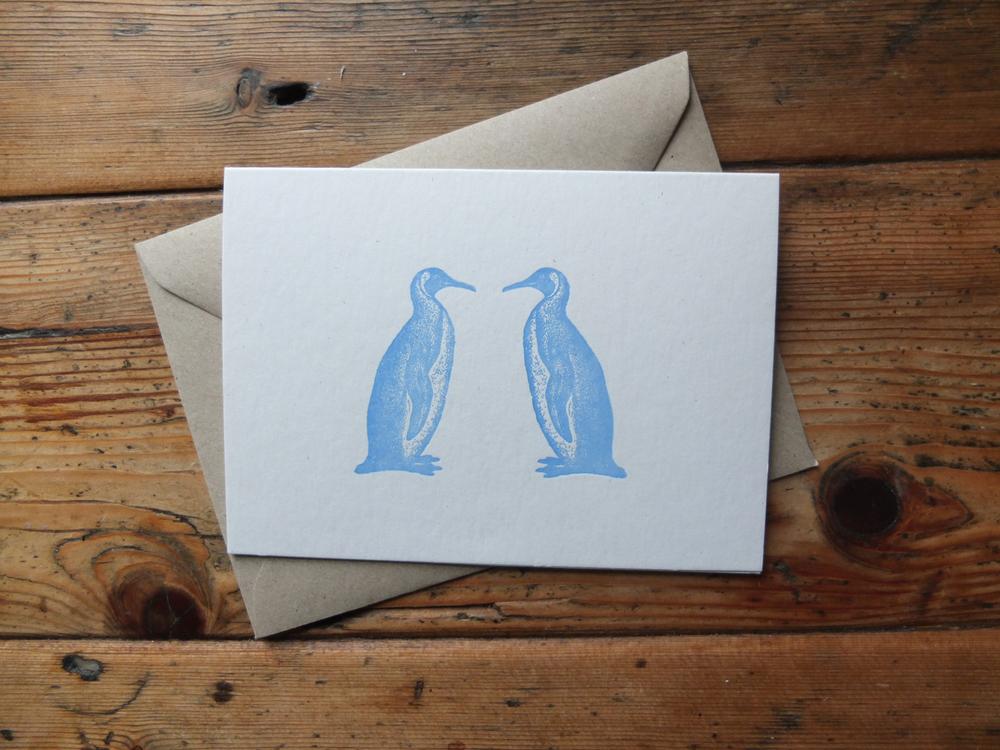 Penguin Letterpress Christmas Card