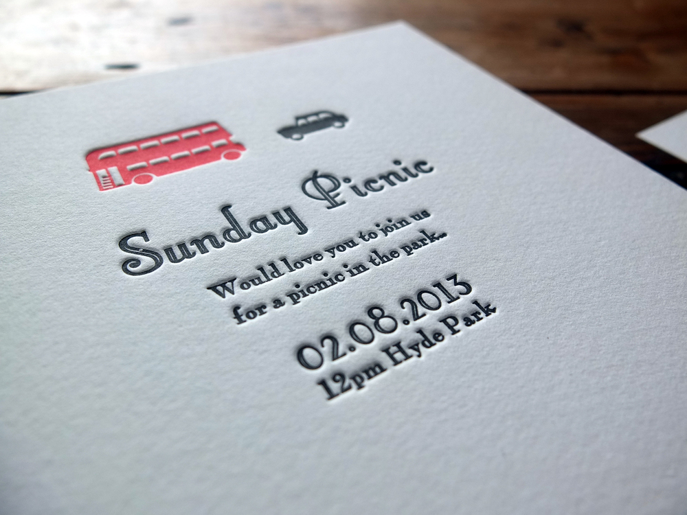 Letterpress Wedding Invitation - On Thick 640gsm Cotton Card.