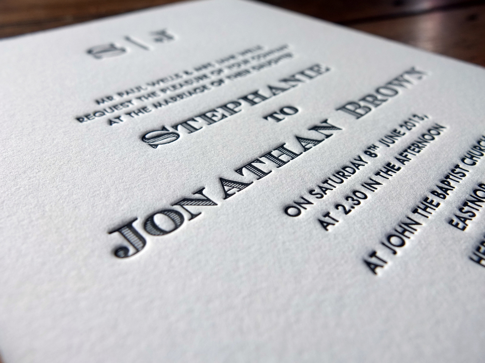 Deep Impression Letterpress Wedding Invitation