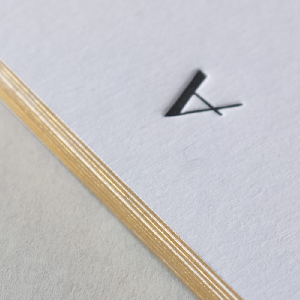 Personalised Initial Notecards - With gold edging
