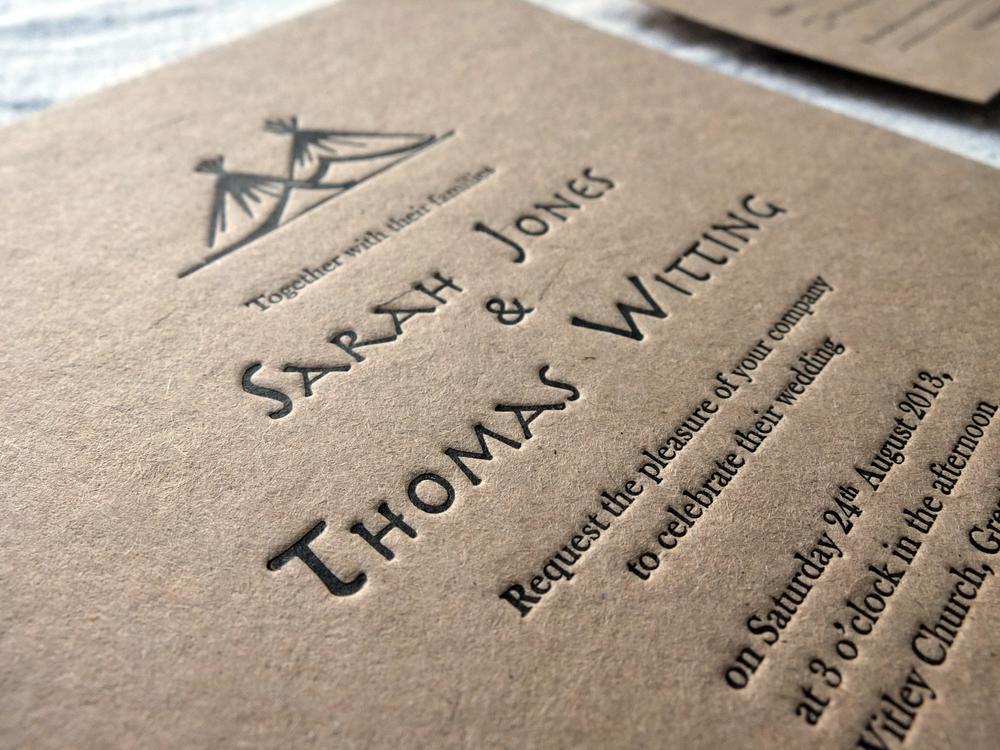 Natural 'rustic' Kraft Card Letterpress Wedding Invitation - Tipi Design