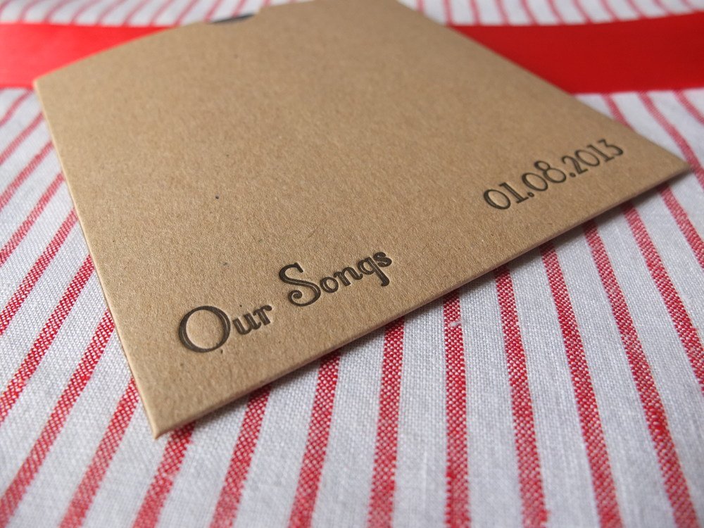 Personalised Letterpress CD case - Perfect Wedding Favour