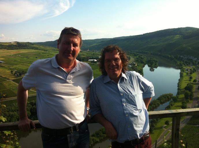 Met Ernie Loosen boven in Urziger Würzgarten