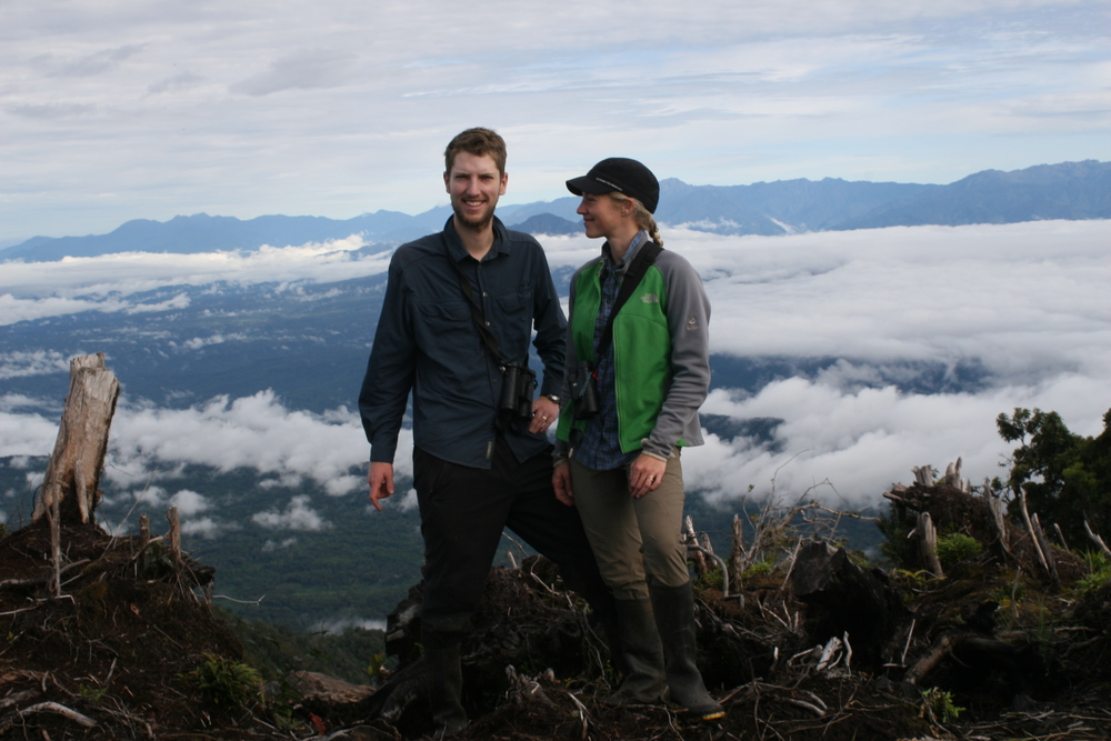 Alexandra and I enjoy a last minute of sunshine atop the summit of Mt. Karimui before navigating the treacherous trail (cleared the day before!) back down to our field camp. We thoroughly surveyed the birds of Mt. Karimui and compared our results to Jared Diamond's studies from 1965 to show that bird species now live much higher on Mt. Karimui than they used to (associated with recent global warming).