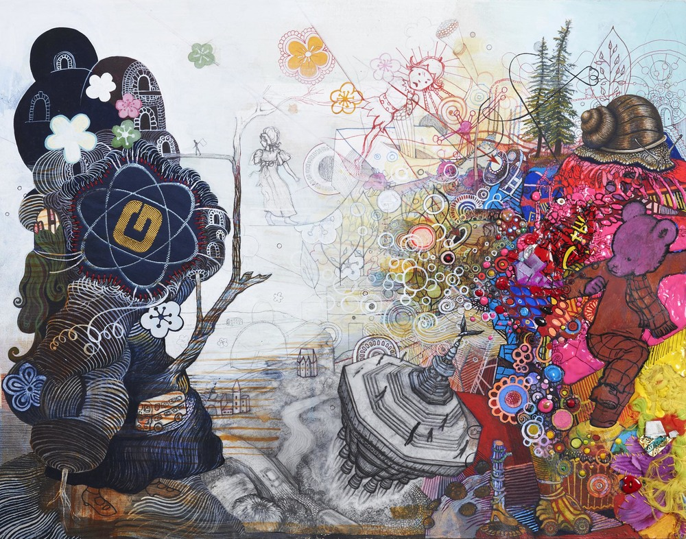 "Damon's Portrait, 2013. Found objects, thread, pen, pencil, gouache, acrylic paint, vellum on paper. 11"" x 14"""