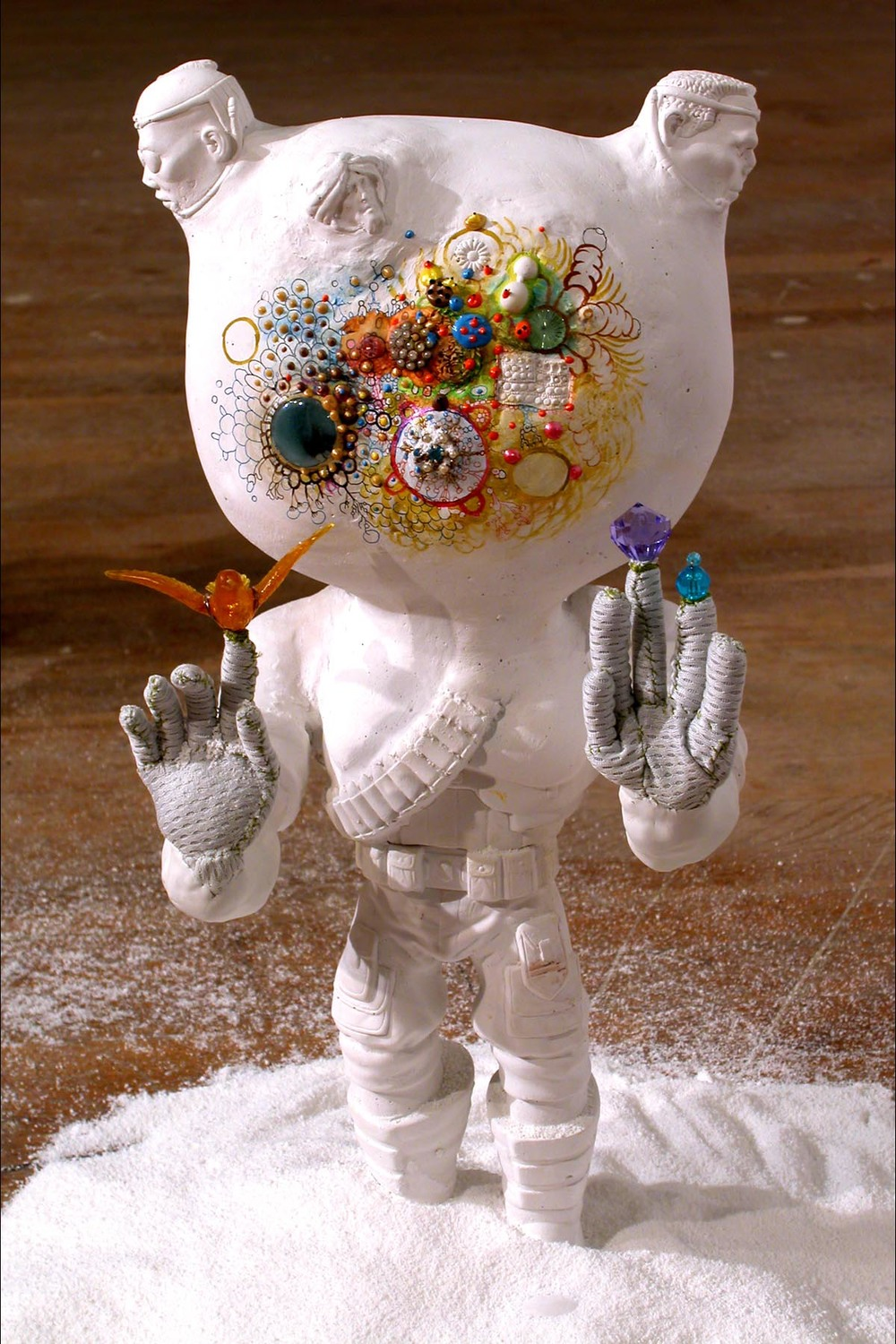 Extreme Soldier (Nature) , 2004.  Installed at Living Arts, Tulsa, Oklahoma as part of  Too Much Candy .  Plaster, fly, plastic lens, gouache, acrylic paint, fabric, thread, beads, detergent. Variable dimensions, about 22 inches tall.