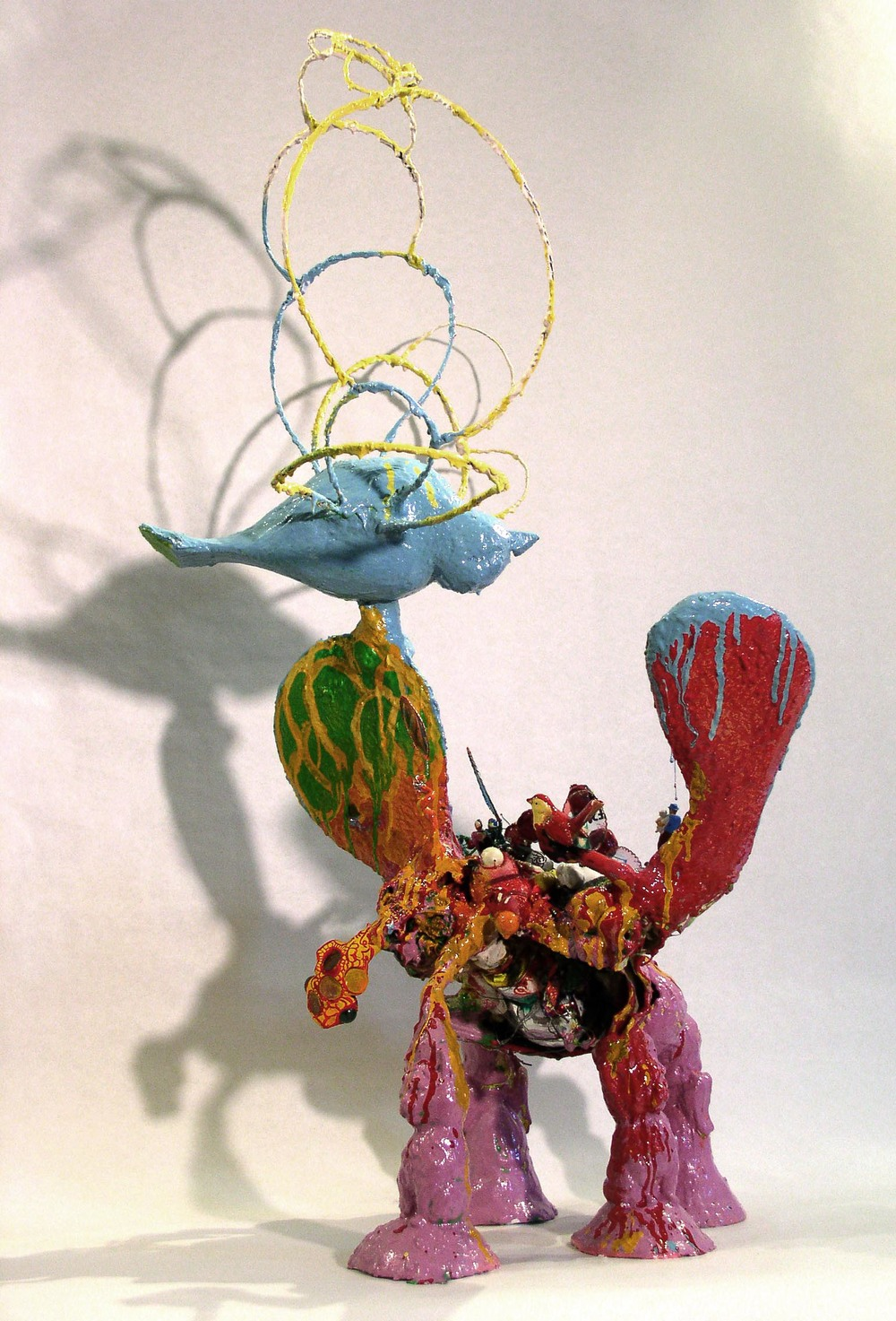 "The Nuclear Option , 2004. Styrofoam, epoxy clay, Aqua Resin, found objects, thread, fabric, wire, enamel paint. Variable Dimensions, about 30"" x 16' x 16""   In the collection of The New York Foundation for the Arts."