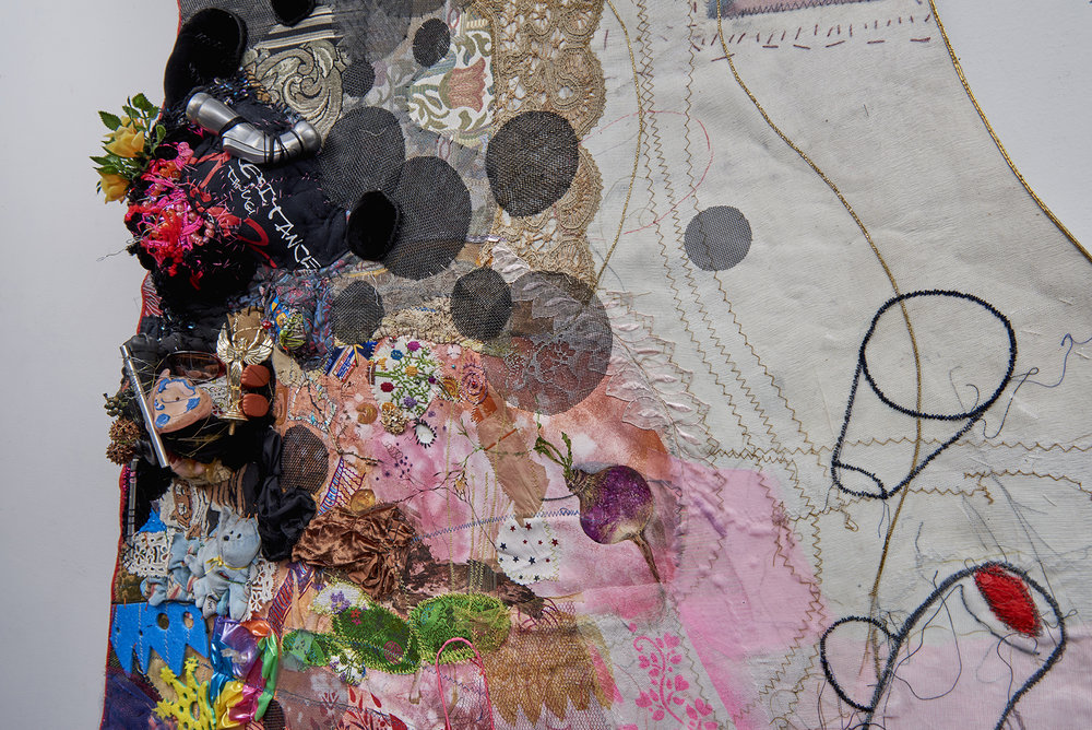 """DETAIL: Toxic Frock : This Changes Everything by Naomi Klein , 2016. 84"""" x 156"""" x 10"""", canvas, trim, oil paint, gouache, thread, acrylic paint, found objects, dimensional fabric paint, fabric, grommets"""