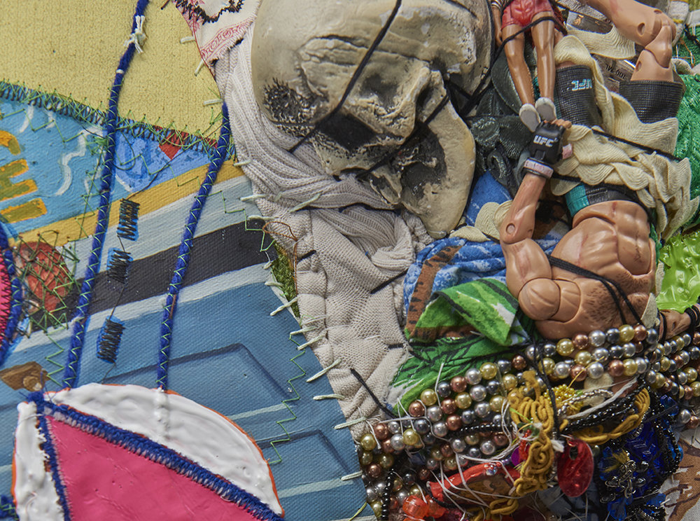 """DETAIL: Crawling on Cancer : The Teflon Toxin by Sharon Lerner  , 2016. 52"""" x 55"""" x 6"""", carpet, trim, photo, thread, found objects, fabric paint, fabric, grommets"""