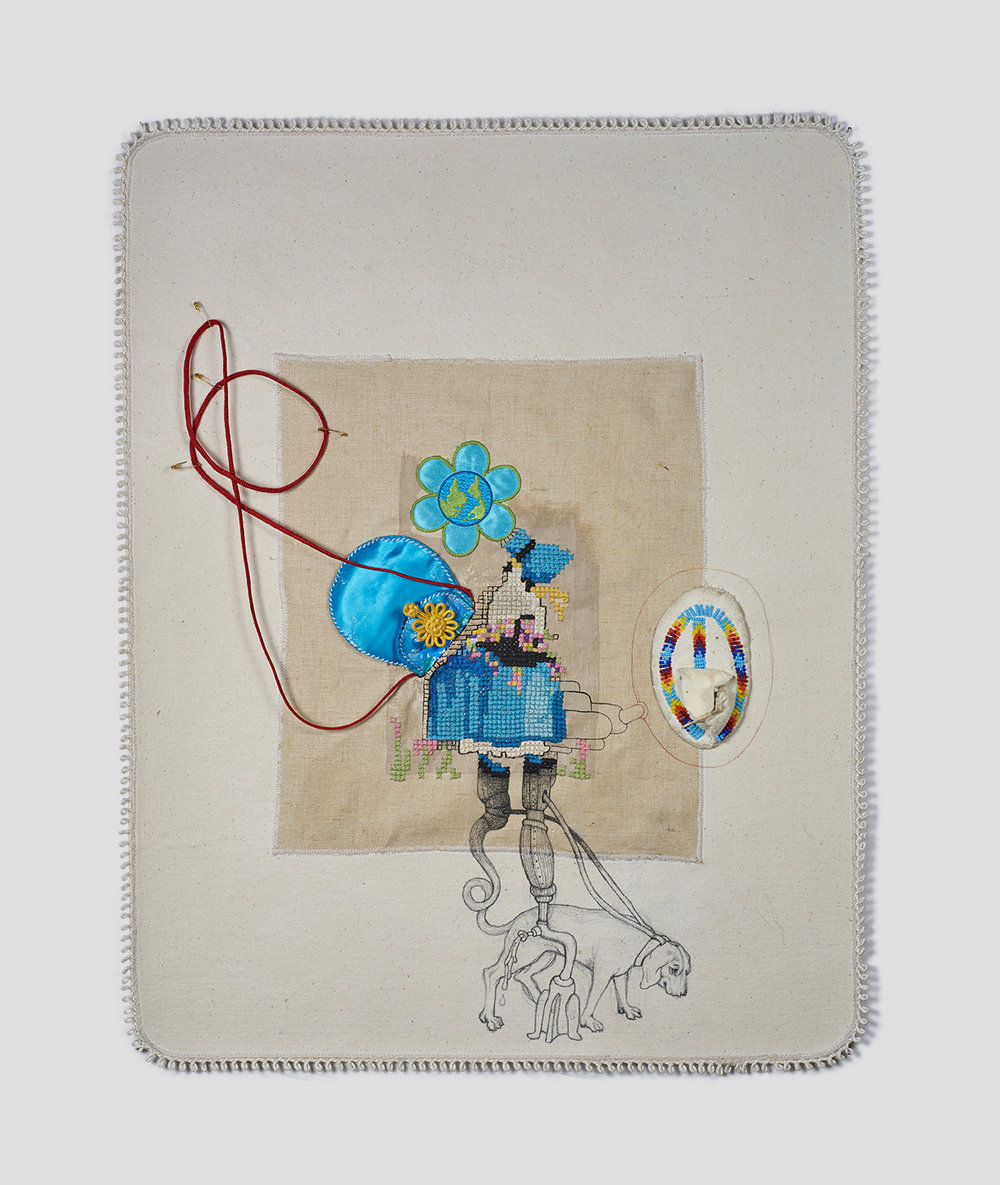 """Begin Again (Another world is not only possible, she is on her way. ~ Arundhati Roy)  , 2016 23"""" x 18"""" x 1"""", canvas, trim, pencil, gouache, thread, acrylic, Chinese purse, Native American baby shoe, embroidered patch"""