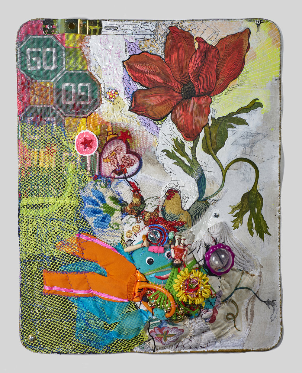 "Hybrid : After Nature by Jedediah Purdy    2017,     22 ½""  x 17 ½"" x 5"",  metal cable, pencil, gouache, acrylic, Micron pen, thread, found objects & grommets on canvas"