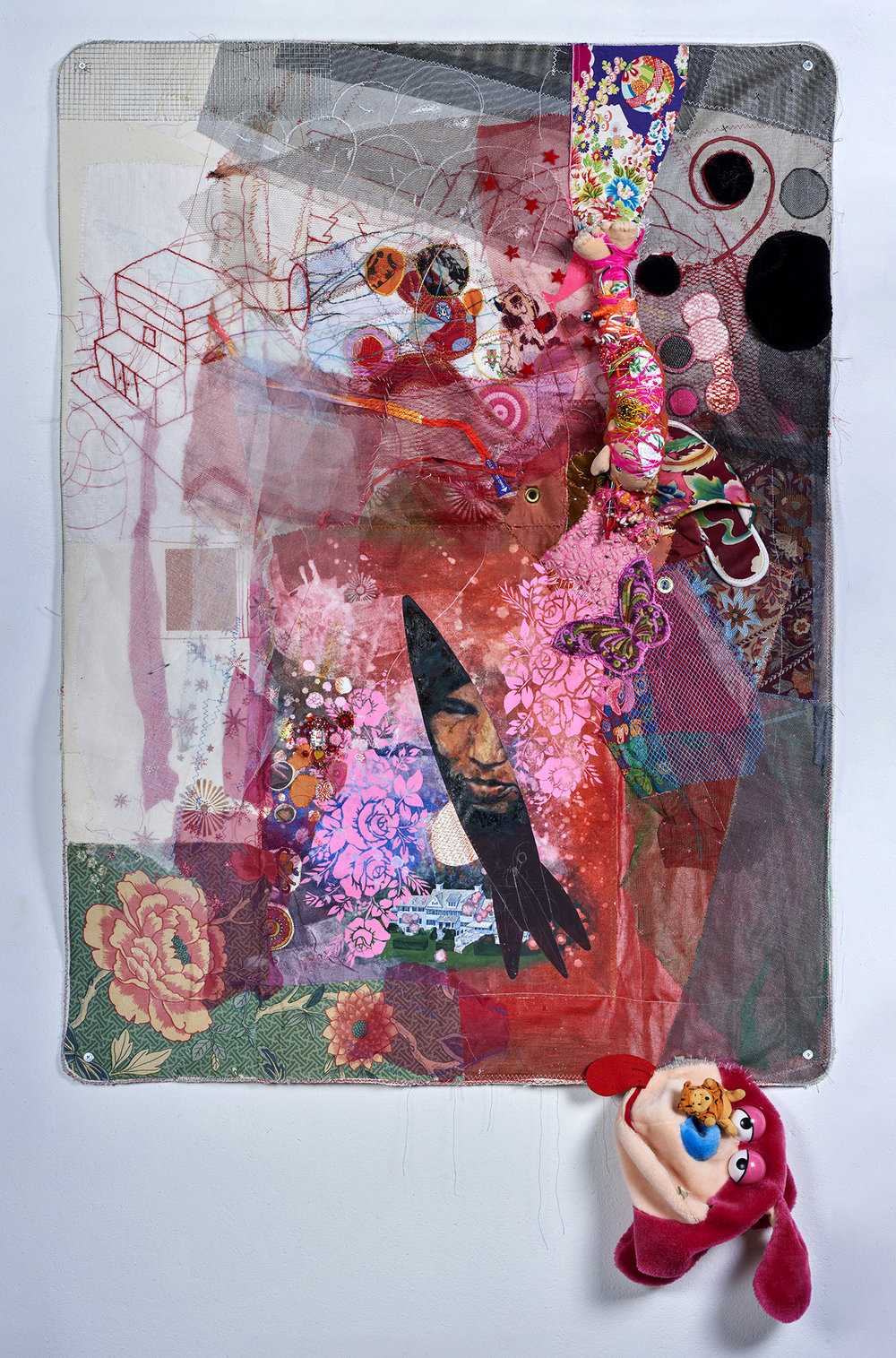 "Rocket Woman and the McMansion :       The Shock Doctrine by Naomi Klein    2016,    65"" x 39"" x 3"", oil paint, gouache, acrylic, paint, fabric paint, thread, found objects, trim, lace & grommets on canvas"