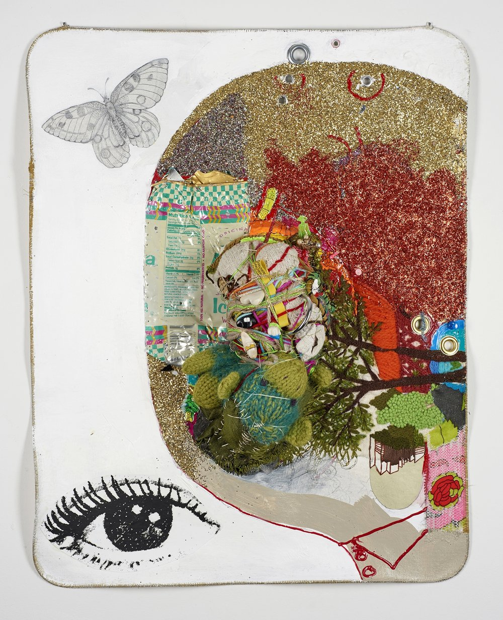 "I, Butterfly    2017,   22 ½""  x 17 ½"" x 6"",  metal cable, pencil, gouache, acrylic, Micron pen, glitter, Xerox, thread, found objects & grommets on canvas"