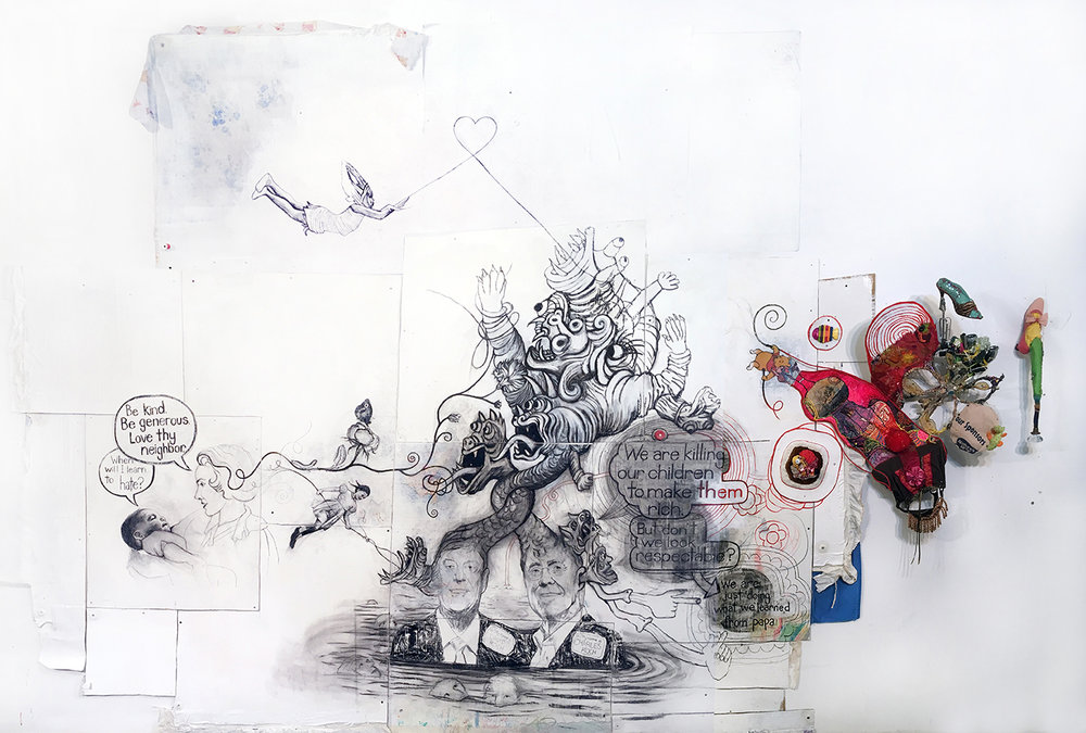 "The Family System; The Roots of Dark Money. (Thank you Jane Mayer),  2018. 192"" x 120"" x 16"", charcoal on handmade cardboard, paper and fabric composite, fabric, fabric paint, acrylic, clay, wire, found objects, screws, beads."