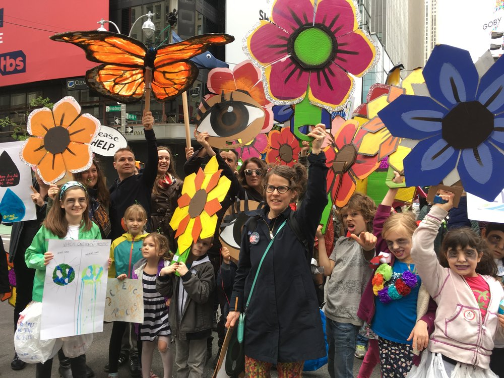 NYC CLIMATE MARCH 2017. Flowers made with the help of volunteers from  Get Organized Brooklyn .