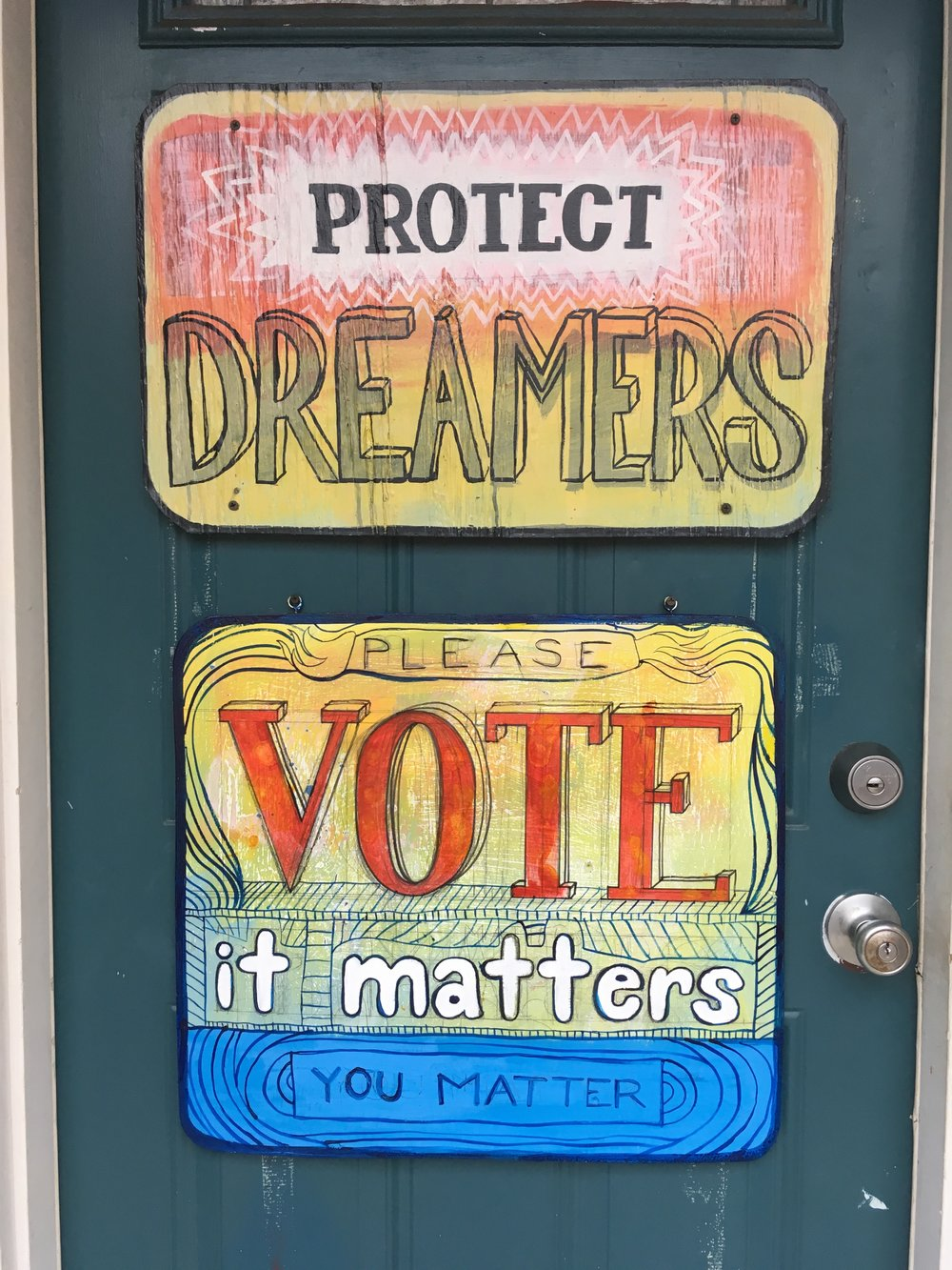 I made these signs for my front door in March 2018.