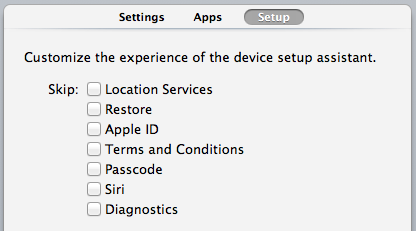 The skip options in Apple Configurator 1.4.1
