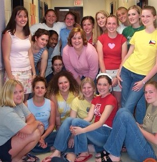 My sophomore year dorm hall. They threw me a surprise lingerie shower. The most fun/embarrassing time. Spring 2004.