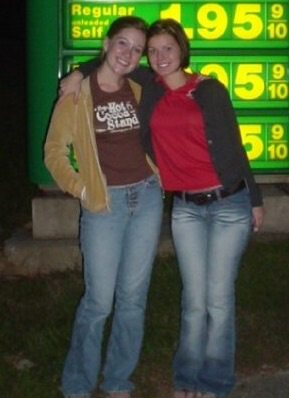 "Again, not MY shirt. Can't remember if it was Ashley's (the friend in the pic) or another friends. Aeropostale, I think...""Hot Cocoa Stand"" is what it says. Why?! Who the heck knows. A tiny thin, cottony short-sleeved shirt about Hot Cocoa is just.....well, if it's cold enough for a hot cocoa stand...why would I wear that shirt made for 90 degree weather?!... Also, gas was cheap in 2003."