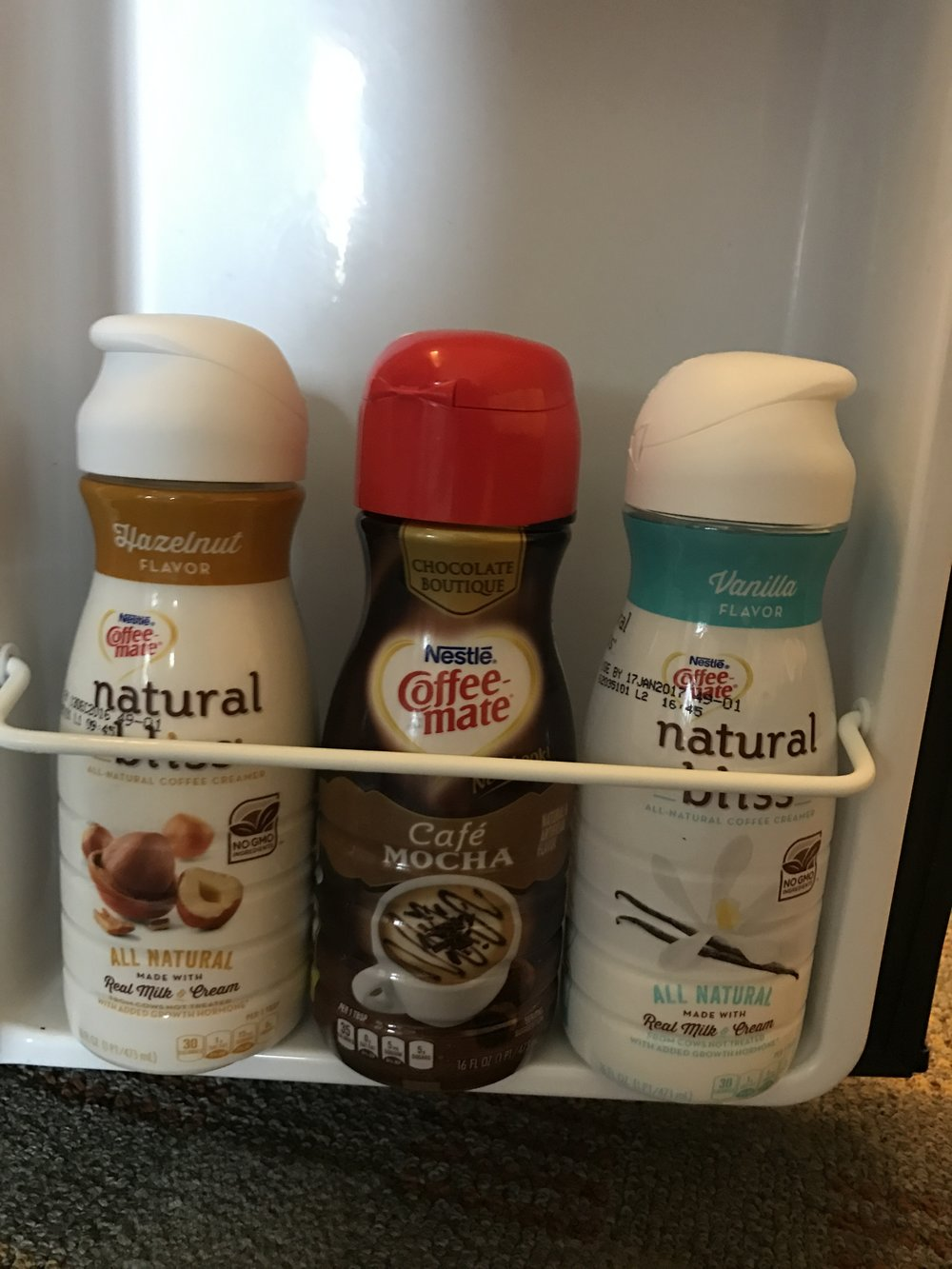 The collection of cream I brought for my coffee. You just never know what mood you'll be in when you wake up in the mornings.