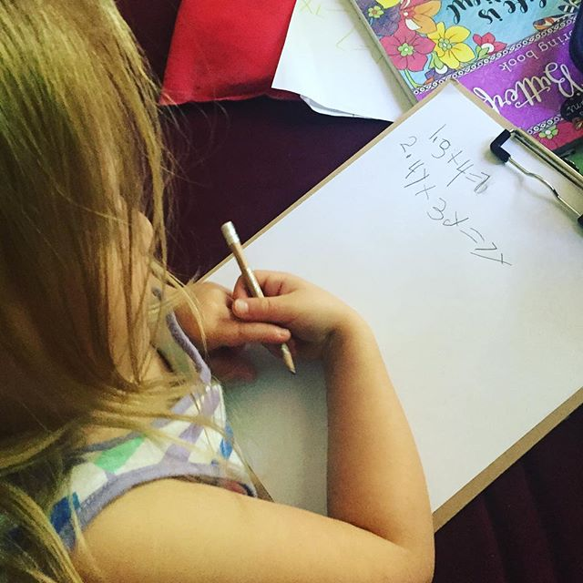 So they teach algebra style math in Kindergarten now... . . . #lifeoffred #kindergarten #homeschool #homeschoollove #apples #algebra
