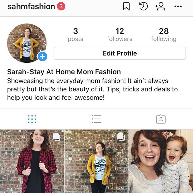 Hey mommas! Sarah here! I've started a new little adventure documenting stay at home mom fashion over on a new account. I love fashion and wanted to show moms practical ways they can look and feel great even if they are home all day! I'm a thrifty shopper and give you tips and tricks for scoring clothes for great deals ($10 and under, with a few splurges here and there) as well as showing you new outfit ideas with clothes you already have! @sahmfashion