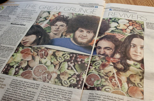 Great to see the legendary fruity backdrop splashed across the London Evening Standard this week, with the very excellent Yuck nestling amongst it. A good couple of days for tearsheets.