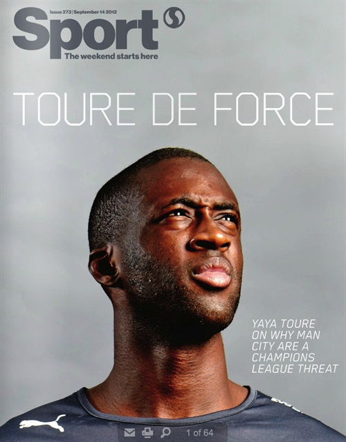 sport magazine cover with yaya toure for puma tom oldham. Black Bedroom Furniture Sets. Home Design Ideas