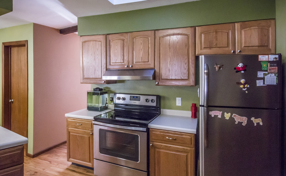 Changed: Green paint (darker green above cabinets),  brown paint in hallway, fish tank.