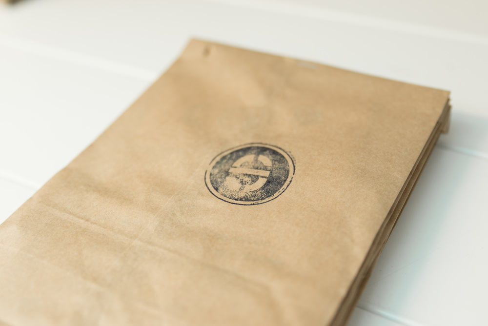 Packaging with logo stamp