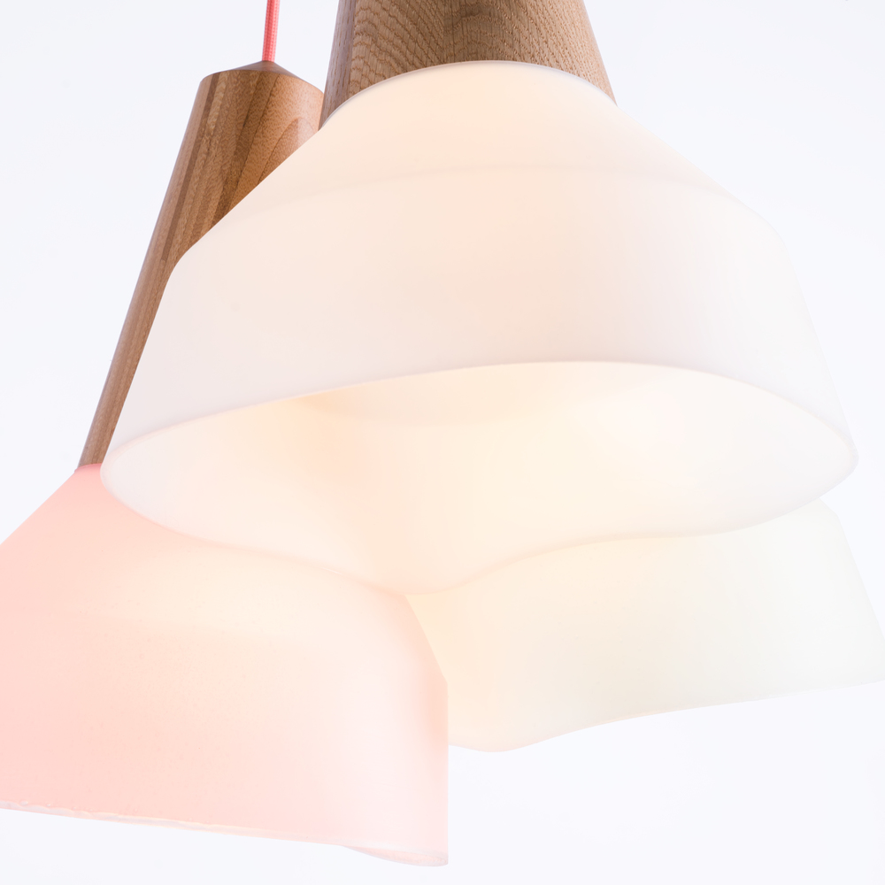 EIKON BUBBLE ASH, OAK AND BAMBOO WITH WHITE, MINT AND CORAL LAMPSHADE