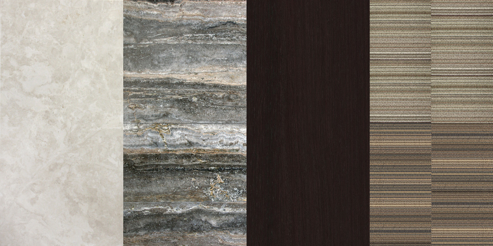 MATERIAL PALETTE (from left to right)   1. Botticino marble flooring 2. Amazon travertine 3. Walnut wood panels 4. Carpet tiles