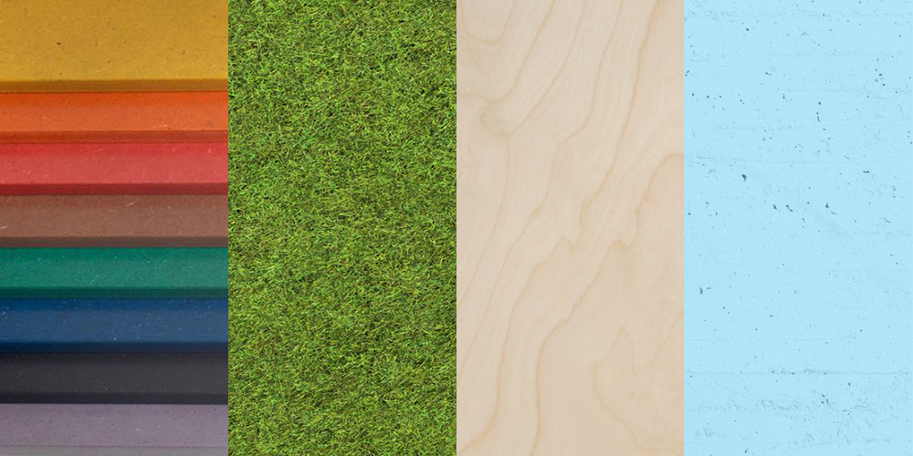 MATERIAL PALETTE (from left to right)  1. Color MDF 2. Synthetic grass 3. Birch plywood 4. Sky blue paint on concrete