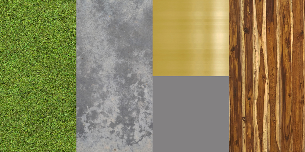 MATERIAL PALETTE (from left to right) 1. Synthetic grass 2. Clear epoxy resin over cement 3. Gold / Gray paint 4. Engineered teak planks