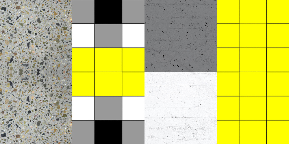 MATERIAL PALETTE (from left to right) 1. Polished concrete aggregate floor 2. Tartan check pattern tiling 3. Paint over exposed concrete 4. Yellow tiles