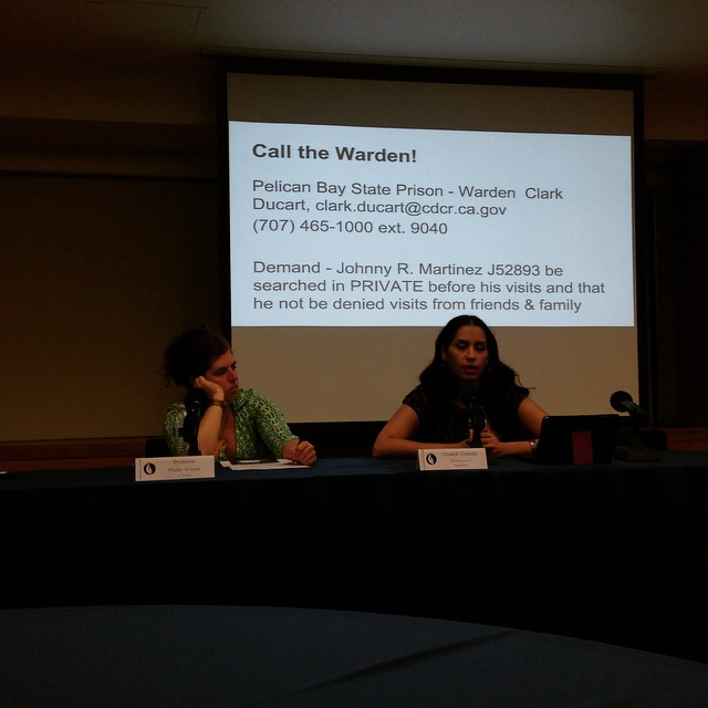 Professor Hadar Aviram and Azadeh Zohrabi address issues of family and relationships as they relate to incarceration. Azadeh also discussed community organizer Dolores Canales' campaign to stop the public strip searches and denial of visitation access that her son has been subjected to at Pelican Bay.