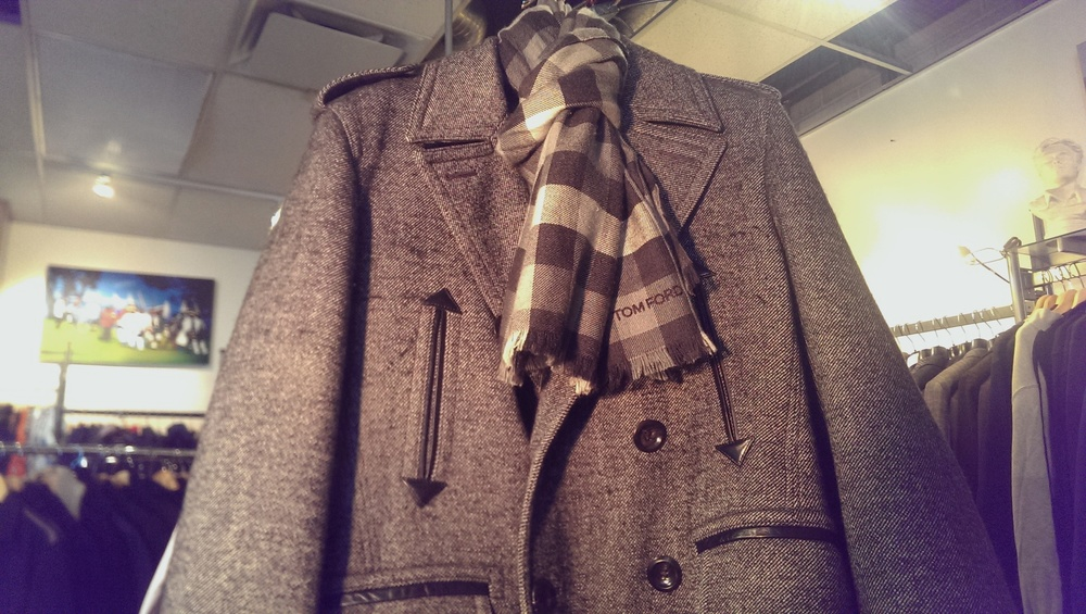 Tom Ford peacoat and cashmere/silk scarf
