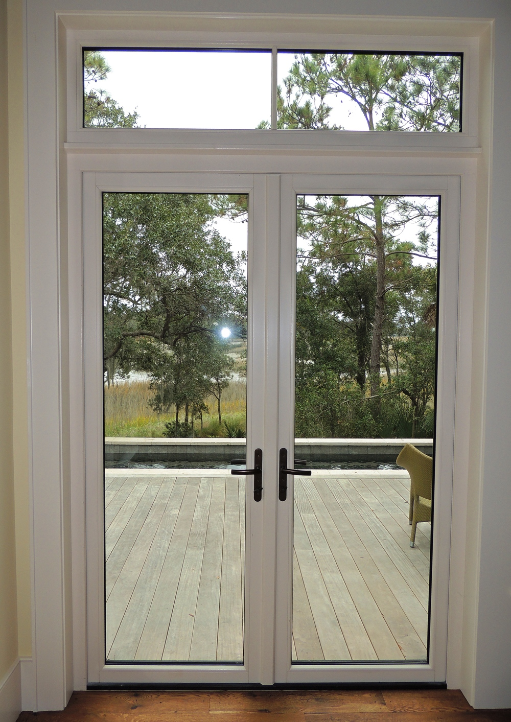 Single french door exterior home design for Exterior double doors