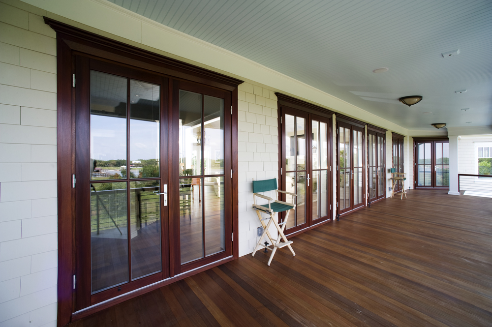 Mahogany French Doors, Hurricane Rated