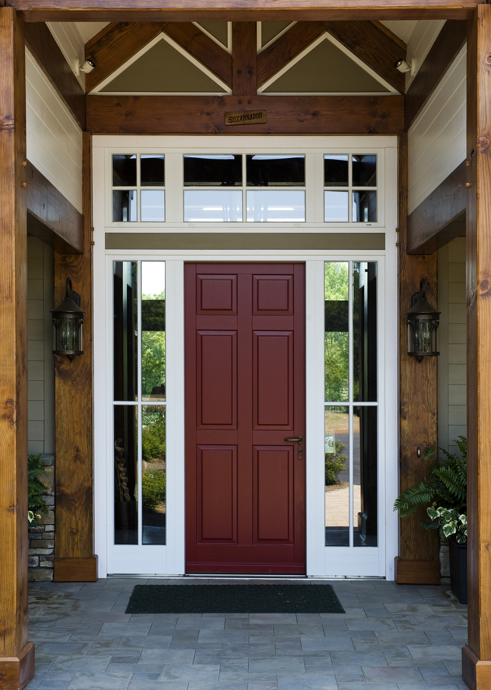 Aluminum Clad Mahogany Entry Door with Sidelights and Transom