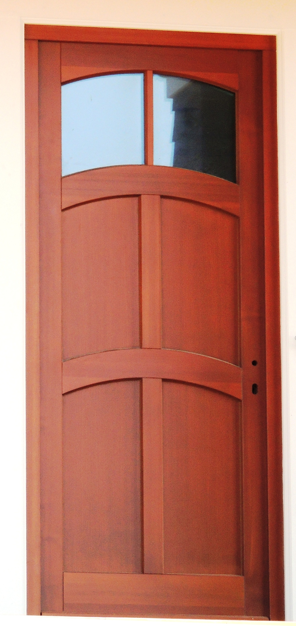 Curved Transom Front Entrance Door, Mahogany
