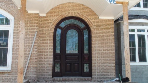 Arched Meranti Wood Door with Transoms and Sidelights