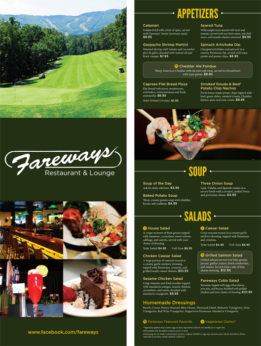 Fareways Restaurant Menu  June 2013