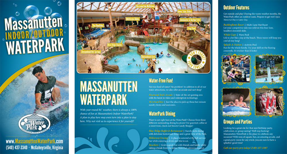 WaterPark Brochure  May 2013 | Tri-fold brochure featuring Massanutten WaterPark