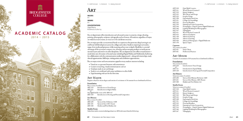 Bridgewater College Academic Catalog  July 2014 | Full academic catalog for 2014-15 school year